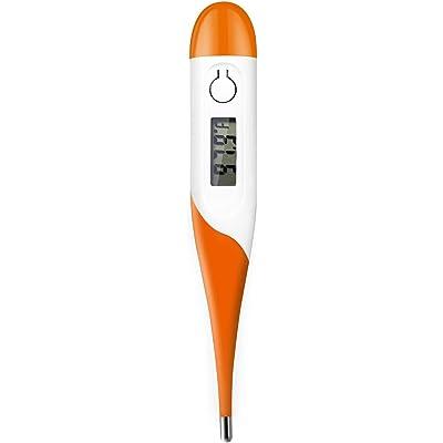 Adoric Termometro Digital Termometro Bebe Niños y Adultos Resistente al Agua, Pantalla LCD Señal acústia, sin Mercurio, sin Cristal, Color Blanco