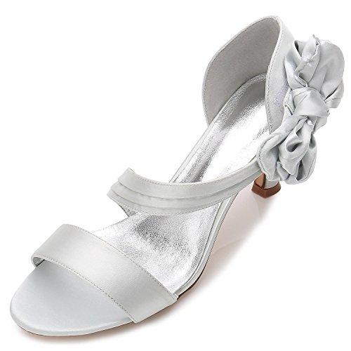 Elegant high shoes Zapatos de La Boda de Las Mujeres R17061-50 Open Toe Basic Pump Elástico Medio Mariposa Zapatos de Novia Silver