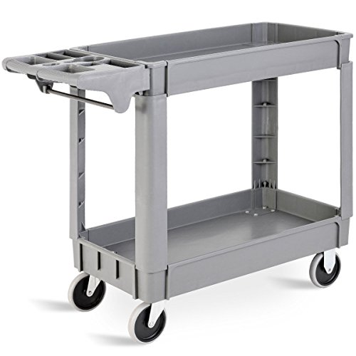 Goplus Plastic Service Cart Utility Storage Cart for All Purpose 550 lbs Capacity (2 Shelves 39