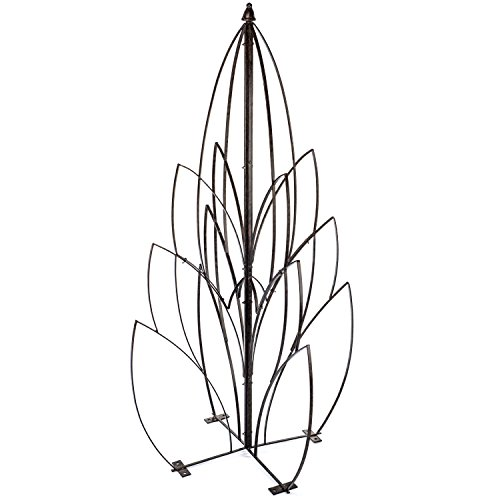 H Potter Garden Lotus Bud Trellis for Climbing Plants Wrought Iron Metal Obelisk for Patio Deck Flowers Weather Resistant Yard Art