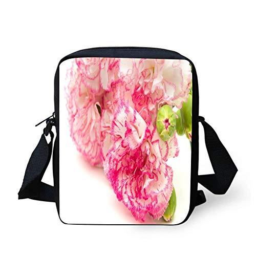SLFKANSKFJ Carnation Pink Flowers Pattern Small Crossbody Bag Purse Travel Shoulder Bag for Women - Pink Wallets Carnation Travel