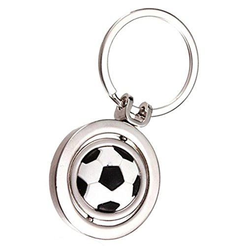 Rurah Charms Key Chain Rotating Football Soccer Pendant Keychain Keyring Metal Silver Color Key Chain Ring Key Fob