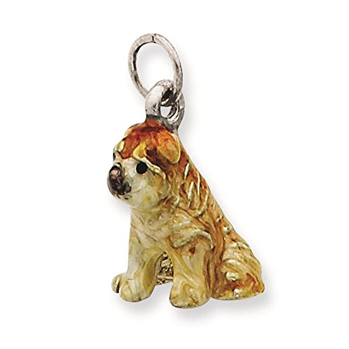 925 Sterling Silver 3-D Enameled Shar Pei Dog Charm Pendant
