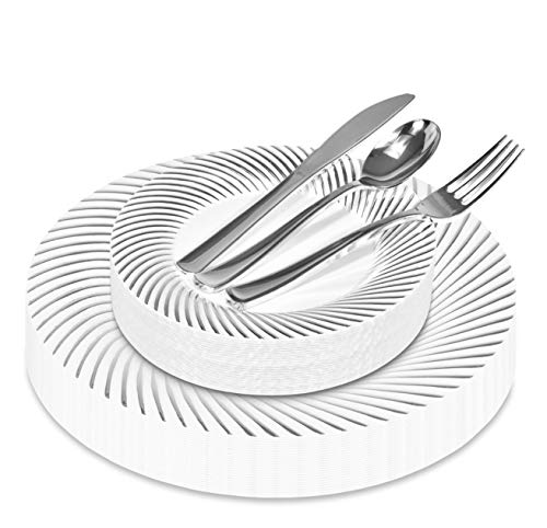 125-Piece Elegant Plastic Plates & Cutlery Set Service for 25 Disposable Place Setting Includes: 25 Dinner Plates, 25 Salad Plates, 25 Forks, 25 Knives, 25 Spoons (Silver Swirl) - Stock Your Home