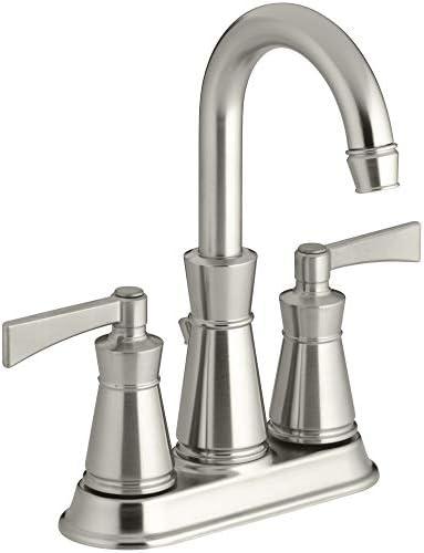 Kohler K-11075-4 Archer Centerset Bathroom Faucet – Free Metal Pop-Up Drain Asse, Brushed Nickel