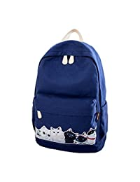 """Artone Cat Canvas Big Capacity Backpack School Daypack With Laptop Compartment Fit 14"""" Notebook Deep Blue"""