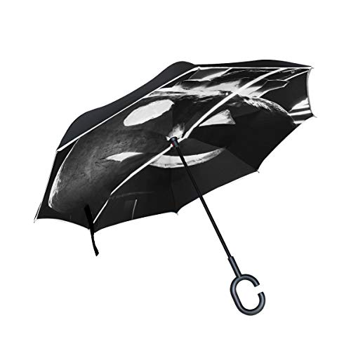 Jnseff Double Layer Inverted Pumpkin Halloween All Souls Tk Fear Lightpaint Umbrellas Reverse Folding Umbrella Windproof Uv Protection Big Straight Umbrella for Car Rain Outdoor with C-Shaped Handle ()