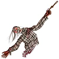"""Halloween Haunters Animated 32"""" Hanging Zombie Ghoul Torso with Moving Arms and Turning Head Prop Decoration - Scary Howls, Flashing Red LED Eyes, Skeleton - Haunted House, Entryway Party Display"""
