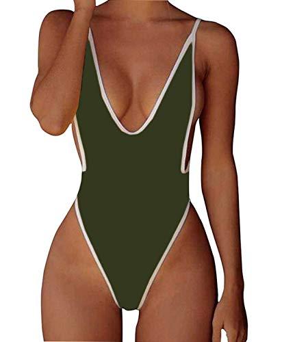 ALLureLove Swimsuits for Women Sexy Monokini Deep V One Piece Bathing Suits Backless Cheeky Swimwear Semi Thong Bikini (Green, Large) - Girl Sexy Thong