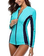 Charmo Women Zip UV Rash Vest Long Sleeve Rashguard Shirts