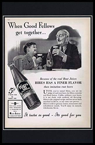 1937 Hires Root Beer Framed 11x17 ORIGINAL Vintage Advertising - Framed Roots