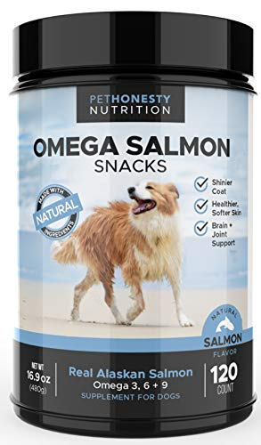 PetHonesty Salmon Oil for Dogs, Omega 3 for Dogs - All-Natural Wild Alaskan Salmon Chews for Healthy Skin & Coat, Fish Oil for Dogs, Cure Itchy Skin, Dog Allergies, Reduce Shedding - 120 Count
