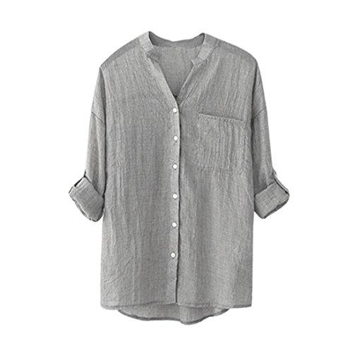 Chemisier poche s dcontract solide Femme Coton gris boutonn Loose manches Chemise Turquie bleu TOPS avec longues av0ww