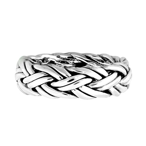 AeraVida Hand Crafted Woven Braid 7 mm Band .925 Sterling Silver Ring (6)