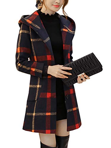 (AUSZOSLT Women's Winter Double Breasted Wool Blend Long Pea Coat Hood Red Yellow XL)