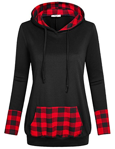 (Cestyle Crew Neck Hoodie,Womens Long Sleeve Hooded Sweatshirts Vintage Plaid Patchwork Tunic Pullover Tops with Hood Black Large)