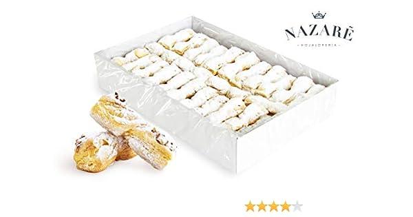 Surtido de Dulces de Hojaldre de Mantequilla Cubierto de Azúcar Lustre y Almendra tostada - Lazos de Almendra - Nazaré Hojaldrería - 55 Unidades 1000 gr.: Amazon.es: Alimentación y bebidas