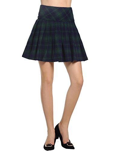 Check Print Skirt (BeLuring Womens Contrast Check Print A-Line Mini Skirt Winter Fall School Skirts For Women)