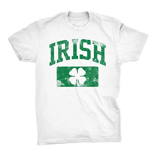 (St Patricks Day Irish Shirt - Irish Athletic Distressed - White-Lg)