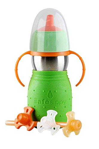 The Safe Sippy 2 2-in-1 Sippy to Straw Bottle Green New - Kid Basix Green