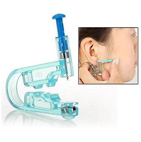 Itian Herramientas para hacer agujeros en las orejas - Desechables seguridad cuerpo Ear Piercing pistola Kit (Azul)