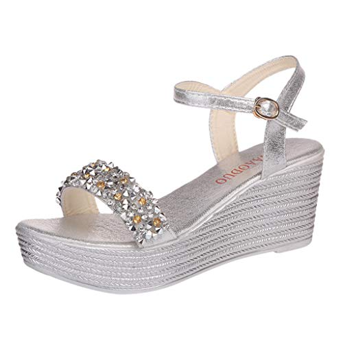 Women Crystal Wedges Buckle Sandals Ladies Fashion Open Peep Toe High Wedge Ankle Strap Shoes Silver