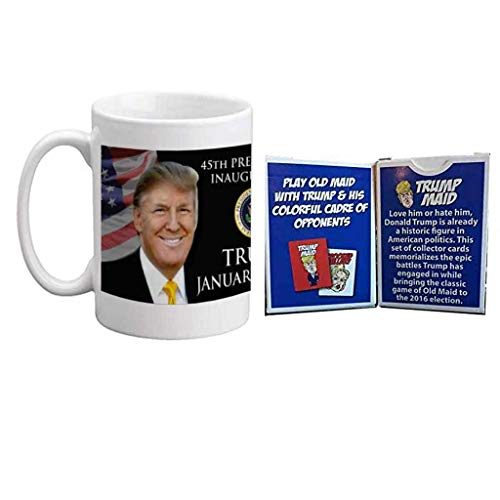 2017 45th Presidential Inauguration - Donald Trump - 15 oz Ceramic Coffee Mug + Trump Maid Card Game