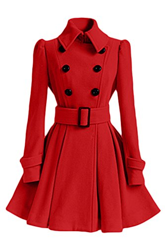 De Invierno Botonadura De Abrigo De Mujeres Las Cinturon Doble Elegantes Patinador Ropa De Con Solapa Rojo Trenchcoats qtxwgn0R