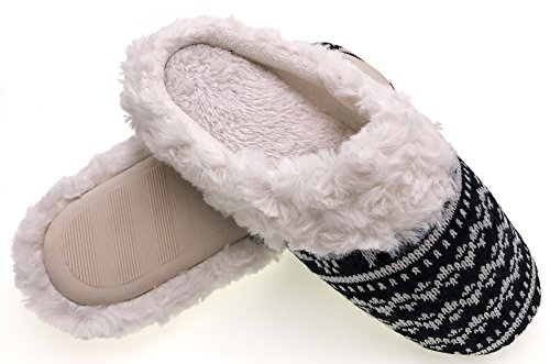 Warm Black Home amp;white Women Slippers Christmas Indoor Cotton Winter Slippers MOGGEI Fuzzy House 0qxUwOZP