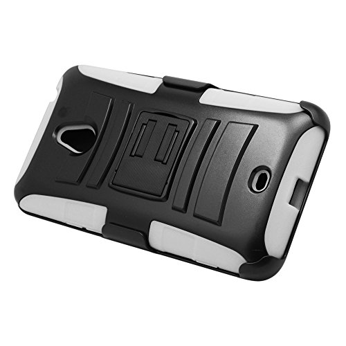 EagleCell Hybrid Protective Skin Case Cover with Stand and Belt Clip Holster for Nokia Lumia 1320 - White/Black