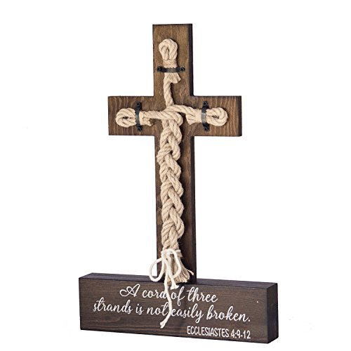 Ling's moment A Cord of Three Strands Wedding Sign - Bible Cross Wedding Unity Sign -Tie The Knot Ceremony - Strand of Three Cords Sign Ecclesiastes 4:9-12]()