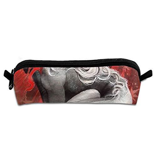 Pen Case Gray-White Dragon Pencil Pouch Box Stationery Organizer Holder Cosmetic Zipper Bag Coins Purse