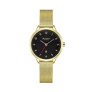 WZFCSAEAE Relojes de Mujer de Moda de Acero Inoxidable Reloj de Oro Mujeres Mujer Relojes de Cuarzo Relojes de Mujer, Oro Negro: Amazon.es: Deportes y aire ...
