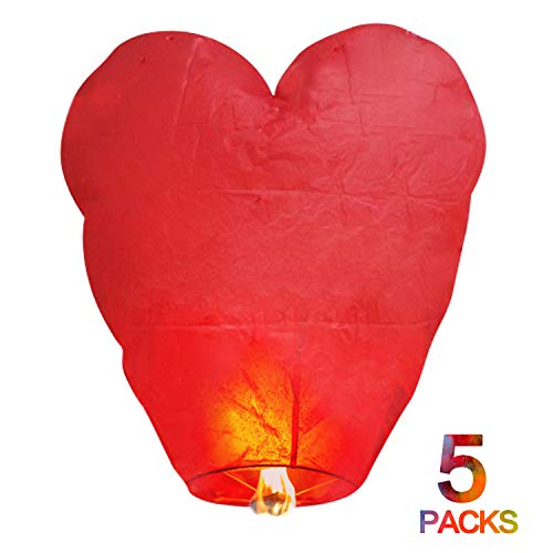 BATTIFE Floating Sky Lanterns Chinese Love Heart Shaped 100% Biodegradable Paper Eco Friendly Romantic Night 5 Pack for Valentine's Day Party Memorial Day to Release in Sky -