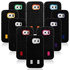 HJZ Tire Grain Soft/Hard Case PC&Silicone Back Cover for Samsung Galaxy S6(Assorted Colors) , Black