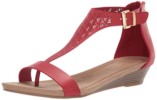 - Kenneth Cole REACTION Women's Great City 3 T-Strap Low Wedge Sandal, Red 9 M US