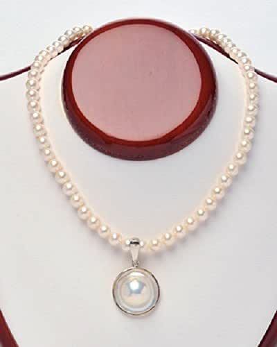Mabe Pearl Necklace: Amazon.com: Mabe Pearl Pendant On Pearl Necklace: Handmade