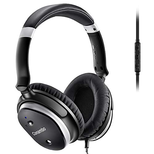 Conambo CQ6 Active Noise Cancelling Headphones, Over Ear Wired Headphones w/Mic, Strong Bass, Lightweight, 40Hours for Travel and Office