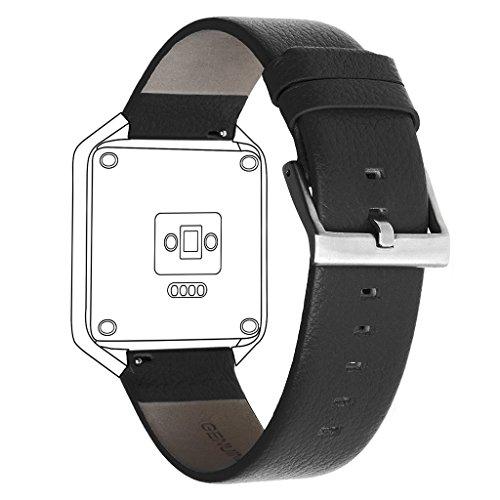 Henoda Compatible with Fitbit Blaze Bands Leather Large Black Bracelet Strap Smart Fitness Watch Band Women Men