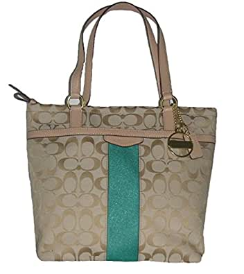 Coach Signature Stripe Tote in - Light Khaki/Emerald