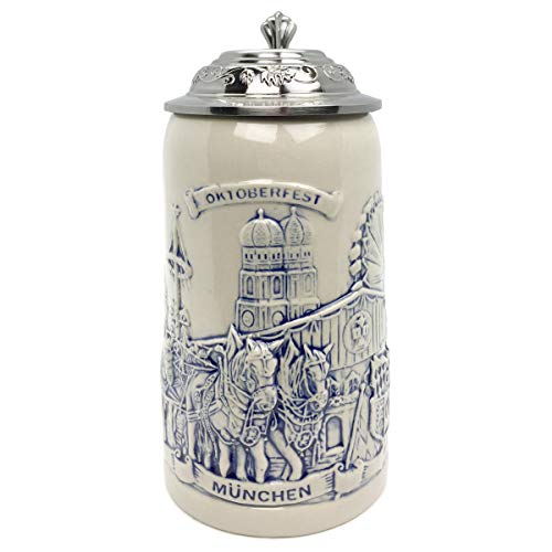 Lidded Stein Tall - Beer Stein Munich Beer Wagon Stoneware Lidded Beer Mug by E.H.G | .5 Liter