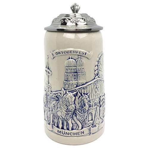 Beer Stein Munich Beer Wagon Stoneware Lidded Beer Mug by E.H.G | .5 Liter