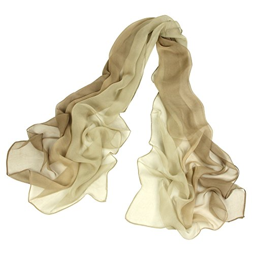 (Long Chiffon Sheer Scarf Gradient - Pantonight Beige Shaded Colors Lightweight Scarf For Womens (Color 082))