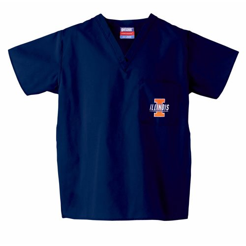 Illinois Fighting Illini NCAA Classic Scrub 1 Pocket Top (Navy) (X Small) (Illinois Classic Shirt)