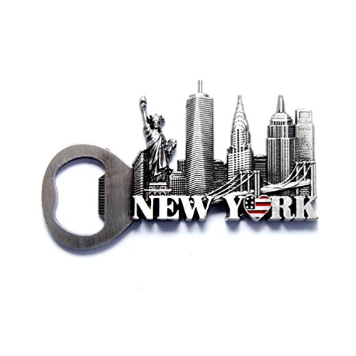 NYC Skyline Opener New York Souvenir Metal Fridge NY Magnet - US Flag,Statue of Liberty,Empire State Building,Chrysler Building,NYC Magnet Metal (Pack 1) (New York Refrigerator Magnet)