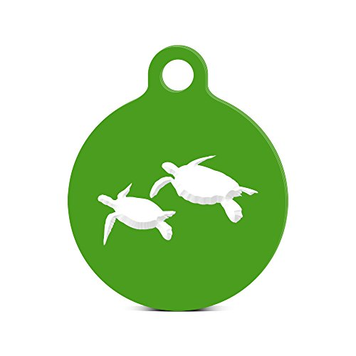 Sea Turtle Round Keychain with Tab engraved scuba dive turtles Green
