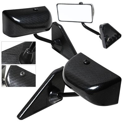 F1 Carbon Style Manual Side Mirrors For 1999-2004 BMW E46 4DR Sedan 3 Series 320i 323i 325i 330i