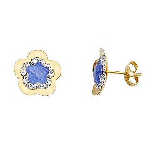 Boucled'oreille 18k or zircons fleur cento de pierre bleue [AA5369]