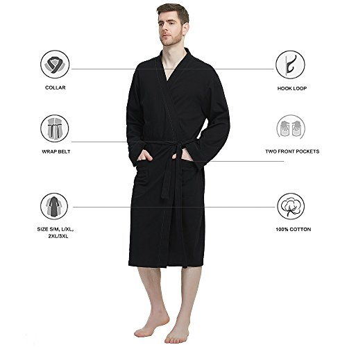 M&M Mymoon Men's Kimono Robe Long Comfy Bathrobe Cotton Loungewear Spa Cloth Robe (Black, L/XL) by M&M Mymoon (Image #5)