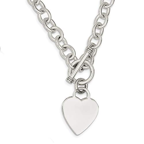Bonyak Jewelry Sterling Silver Heart Fancy Link Toggle Necklace